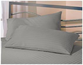 Jaipur Linen Blended Striped Pillow Covers ( Pack of 2 , Grey )