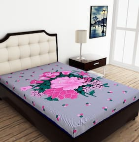 JAIPUR PRIDE Cotton Floral Single Size Bedsheet 104 TC ( 1 Bedsheet Without Pillow Covers , Blue )
