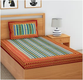 JAIPUR PRIDE Cotton Striped Single Size Bedsheet 104 TC ( 1 Bedsheet With 1 Pillow Covers , Multi )