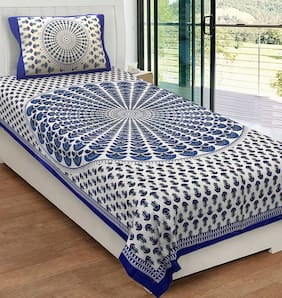 JAIPUR PRIDE Cotton Printed Single Size Bedsheet 104 TC ( 1 Bedsheet With 1 Pillow Covers , Blue )