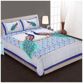 Bedding Bazar Cotton Printed Double Size Bedsheet 200 TC ( 1 Bedsheet With 2 Pillow Covers , Multi )