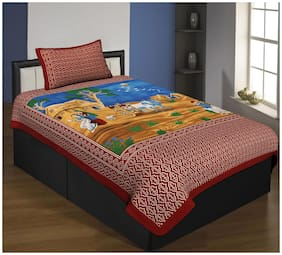 DINGGA DECOR Cotton Abstract Single Size Bedsheet Combo ( 1 Bedsheet With 1 Pillow Covers , Red )