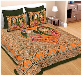 Spangle Cotton Printed Double Size Bedsheet 104 TC ( 1 Bedsheet With 2 Pillow Covers , Orange )