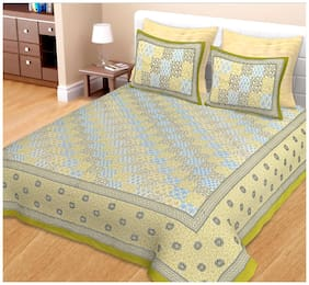 Spangle Cotton Printed King Size Bedsheet 144 TC ( 1 Bedsheet With 2 Pillow Covers , Multi )