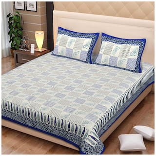 Spangle Cotton Printed King Size Bedsheet 144 TC ( 1 Bedsheet With 2 Pillow Covers , Blue )