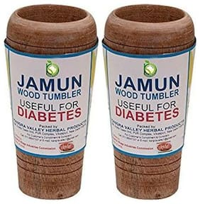 Jamun Glass Anti Diabetes Sugar Control Herbal Wood Glass Herbal Tumbler ( Pack of 2 Glass)