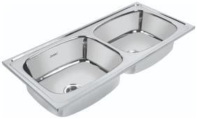 Janki Stainless Steel Double Bowl Kitchen Sink 45 * 20 * 9 inch/High Quality Double Bowl Kitchen Sink