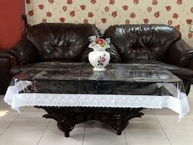 JARS Collections Transparent Centre Table Cover with Silver Lace