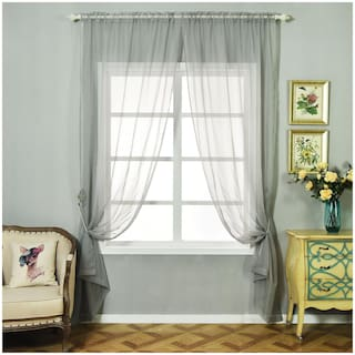 Jars Collections Set of 2 Silver Organza Sheer Door Curtains