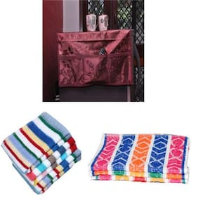 JARS Collections Combo of Fridge Top Cover  6 Hand Towel and 6 face Towel