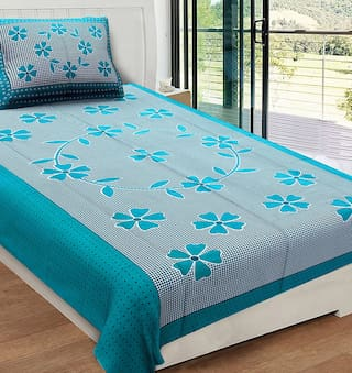 JARS Collections Microfiber Floral Single Size Bedsheet 120 TC ( 1 Bedsheet With 1 Pillow Covers , Green )