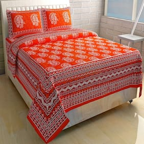 JARS Collections Cotton Printed Double Size Bedsheet 160 TC ( 1 Bedsheet With 2 Pillow Covers , Multi )