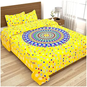 JARS Collections Cotton Polka Dot Double Size Bedsheet 140 TC ( 1 Bedsheet With 2 Pillow Covers , Yellow )