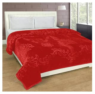 Jars Collections Solid Emboss Mink Double Bed Blanket