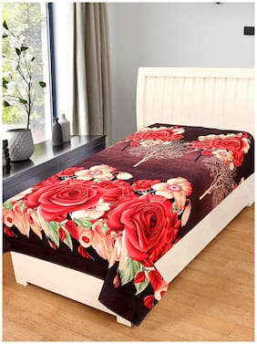 JARS Collections Microfibre Floral Single Size Bedsheet ( 1 Bedsheet Without Pillow Covers , Brown )