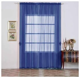 Jars Collections Set of 2 Blue Organza Sheer Door Curtains