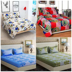 JARS Collections Cotton Floral Double Size Bedsheet Combo ( 4 Bedsheet With 8 Pillow Covers , Multi )