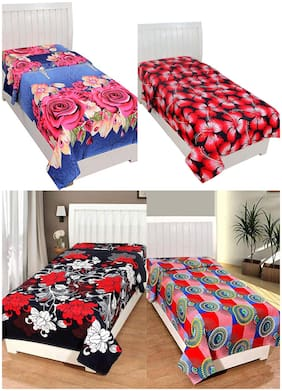 JARS Collections Cotton Floral Single Size Bedsheet Combo ( 4 Bedsheet Without Pillow Covers , Multi )