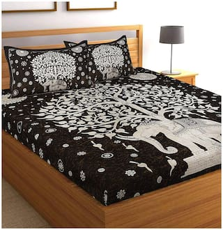 JARS Collections Cotton Printed Double Size Bedsheet 140 TC ( 1 Bedsheet With 2 Pillow Covers , Black )