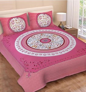 JARS Collections Cotton Floral Double Size Bedsheet 160 TC ( 1 Bedsheet With 2 Pillow Covers , Pink )