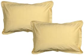JARS Collections Cotton Plain Pillow Covers ( Pack of 2 , Yellow )