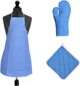 JARS Collections Cotton Aprons & gloves set Blue ( Pack of 3 )