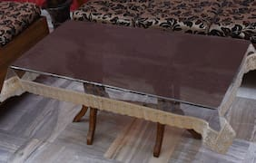 JARS Collections Transparent Centre Table Cover with Golden Lace(40x60 inches)