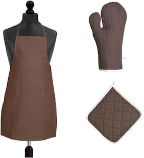 JARS Collections Cotton Aprons & gloves set Brown ( Pack of 3 )