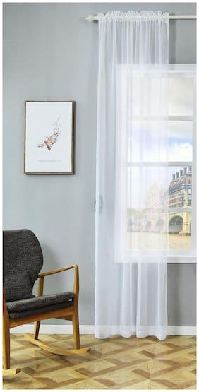JARS Collections Tissue Door Transparent White Regular Curtain ( Rod pocket closure , Plain )