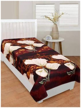 JARS Collections Microfiber Floral Single Size Bedsheet 130 TC ( 1 Bedsheet Without Pillow Covers , Brown )