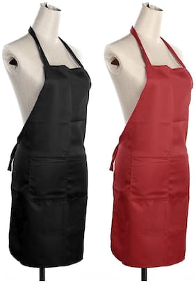JARS Collections Cotton Apron Red & Black ( Pack of 2 )
