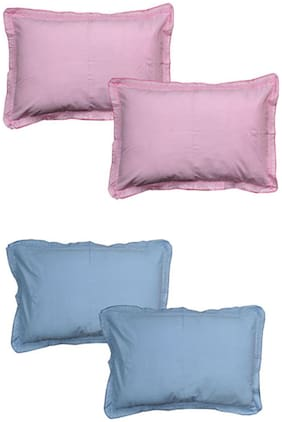 JARS Collections Cotton Plain Pillow Covers ( Pack of 4 , Multi )