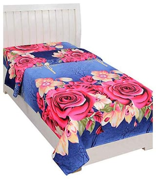 JARS Collections Microfiber Floral Single Size Bedsheet 130 TC ( 1 Bedsheet Without Pillow Covers , Blue )