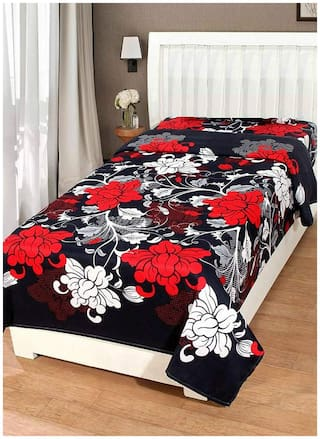 JARS Collections Microfiber Floral Single Size Bedsheet 130 TC ( 1 Bedsheet Without Pillow Covers , Black )
