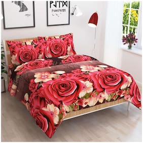 JARS Collections Microfibre Floral Double Size Bedsheet 144 TC ( 1 Bedsheet With 2 Pillow Covers , Multi )