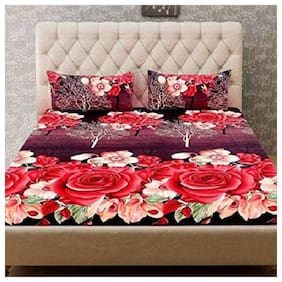 JARS Collections Microfiber Floral Double Size Bedsheet 160 TC ( 1 Bedsheet With 2 Pillow Covers , Multi )