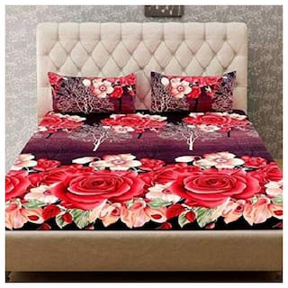 JARS Collections Superior Quality Floral 3-D Polycotton Bedsheet 144 TC with 2 pillow Covers