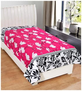 JARS Collections Poly Cotton Floral Single Bedsheet ( 1 Bedsheet without Pillow Cover , Pink )