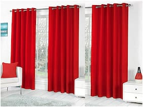 JARS Collections Polyester Door Blackout Red Regular Curtain ( Eyelet Closure , Solid )