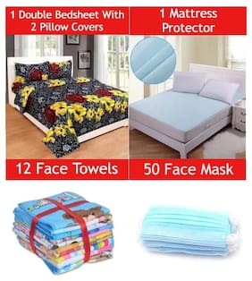 JARS Collections Combo of Double Bedsheet with 2 Pillow cover;Double Bed Mattress Protector Sheet;12 face Towels and 50 3Ply Mask