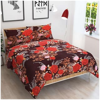 JARS Collections Cotton Floral Double Size Bedsheet 144 TC ( 1 Bedsheet With 2 Pillow Covers , Multi )