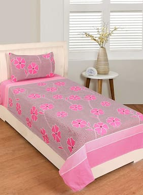 JARS Collections Microfiber Floral Single Size Bedsheet 120 TC ( 1 Bedsheet With 1 Pillow Covers , Pink )