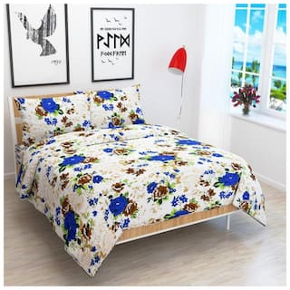 JARS Collections Microfiber Floral Double Size Bedsheet 120 TC ( 1 Bedsheet With 2 Pillow Covers , White )