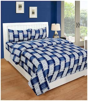 JARS Collections Microfiber Checkered Double Size Bedsheet 160 TC ( 1 Bedsheet With 2 Pillow Covers , Blue )