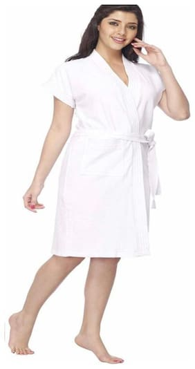 JARS Collections 400 GSM Cotton terry Bathrobe ( 1 piece , White )