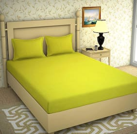 JARS Collections Cotton Solid Double Size Bedsheet 200 TC ( 1 Bedsheet With 2 Pillow Covers , Green )