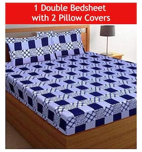 JARS Collections Microfiber Geometric Double Size Bedsheet 160 TC ( 1 Bedsheet With 2 Pillow Covers , Blue )