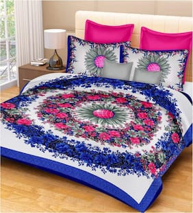 JARS Collections Cotton Floral Double Size Bedsheet 160 TC ( 1 Bedsheet With 2 Pillow Covers , Multi )