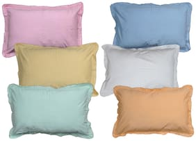 JARS Collections Cotton Plain Pillow Covers ( Pack of 6 , Multi )