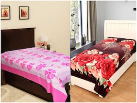 JARS Collections Cotton Floral Single Size Bedsheet Combo ( 2 Bedsheet Without Pillow Covers , Multi )